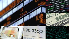 Financial stock business montage video wall stock video