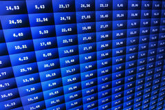 Financial and stock exchange data on computer screen. Shallow DOF effect. Colored ticker board on bar chart data. Financial graph, Royalty Free Stock Image