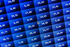 Financial and stock exchange data on computer screen. Shallow DOF effect. Colored ticker board on bar chart data. Financial graph, Stock Photo