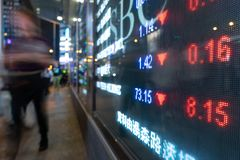 Financial stock exchange market display screen board on the street and city light reflection in Hong Kong. Financial stock exchange market display screen board royalty free stock photography