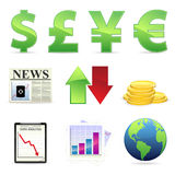Financial Stock Icons. An set of ten icons relating to finance and the stock market Royalty Free Stock Photography