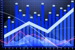 Financial stock market. Graph on technology abstract background. 3D render Stock Photography