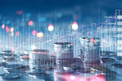 Free Financial Stock Market Graph And Rows Of Coins Growth, Abstract And Symbol For Finance Concept, Business Investment And Currency Royalty Free Stock Photos - 162020228