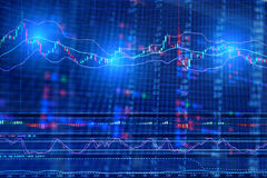 Financial Stock market graph on screen display Royalty Free Stock Photo