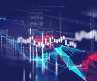 Technical financial graph on technology abstract background. Financial stock market graph on technology abstract background Royalty Free Stock Photo