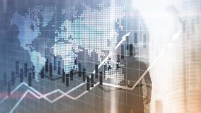 Financial Stock Market Graphs Candle Chart ROI Return On Investment Business Concept. Financial Stock Market Graphs Candle Chart ROI Return On Investment royalty free stock photography