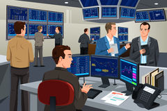 Financial stock trader working in a trading room Royalty Free Stock Image