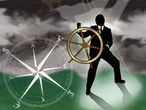 Financial Storm. Representative of turmoil in world currencies. Businessman/banker/broker at sea trying to navigate a storm with international currency compass stock illustration