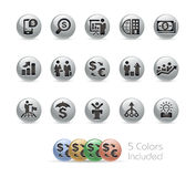 Financial Strategies Icons -- Metal Round Series Royalty Free Stock Images