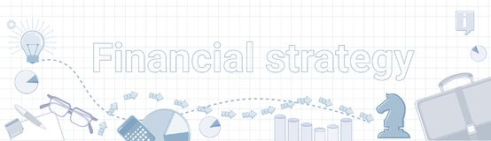 Financial Strategy Business Development Concept Project Planning Banner. Vector Illustration Stock Photography