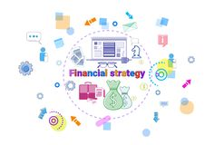 Financial Strategy Concept Business Plan Development Finance Project Banner. Vector Illustration Royalty Free Stock Photography