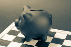 Financial strategy concept with piggy bank. Stock Images