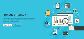 Financial strategy, analytics with growth report. Financial strategy, report with investment data, charts of growth on website screen in internet browser Royalty Free Stock Photos