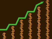 Financial success. Graphical representation of growing  incomes Stock Photography