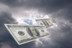 Financial success. To successful people money fall from the sky Royalty Free Stock Images