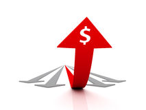 Financial success. Large bent arrow rises above the gray arrows. High resolution image when rendering scenes Stock Photography