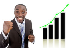 Financial Success!!. This is an image of a businessman fully excited due to a rise in profits, symbolised by the graph behind him Stock Photography