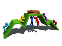 Financial success. 3d illustration of people figures, financial graphic line and gold coins Stock Photography