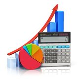 Financial success and accounting concept. Business financial success, tax and accounting, statistics and analytic research concept: office electronic calculator Stock Photos