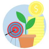 Financial success, achieving goals vector icon. Gold coin stack and sprout grow illustration Royalty Free Stock Photos