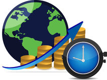 Financial success around the world. Financial success concept time is money Stock Photography