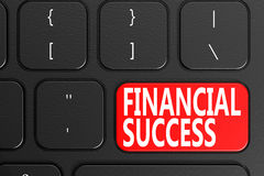 Financial Success on black keyboard. 3D rendering Royalty Free Stock Photography