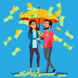Financial Success, Business Man And Woman Stands Under Umbrella Under Falling Money Vector. Isolated Illustration. Financial Success, Business Man And Woman royalty free illustration