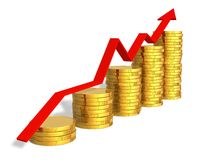 Financial success concept. Growing bar chart from golden coins with red arrow Royalty Free Stock Photo