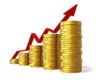 Financial success concept. Growing bar chart from golden coins with red arrow isolated over white Stock Images