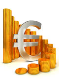 Financial success concept. Euro sign and coins. Financial success concept Stock Image