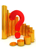 Financial success concept. Gold coin graph with signs of question Stock Images