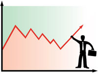 Financial success concept. Business man holding graph Stock Photo