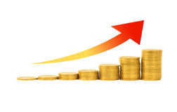 Financial success concept. Graph of the columns of coins  on white background Stock Photo