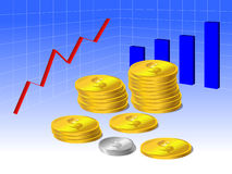 Financial success concept. Coins and graph Stock Images