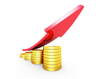 Financial Success Concept Coins Bar Chart With Rising Arrow. 3d Render Illustration Royalty Free Stock Photography