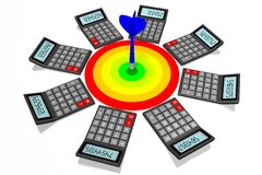 Financial success concept. 3D calculator concept - on white background Royalty Free Stock Photos
