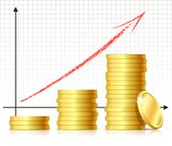 Financial success concept. Graph with coins. Vector Stock Image