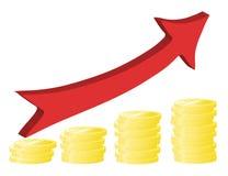 Financial success concept with golden coins Stock Photo