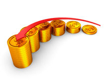 Financial success concept golden coins bar graph Royalty Free Stock Photography