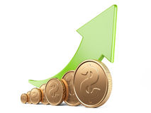 Financial success concept. Green arrow up and gold coins. Growth chart  on white background Royalty Free Stock Images