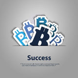 Financial Success Concept. Success - Online Exchange & Montary Concept Illustration with Various Blue Bitcoin Sign Designs - Abstract Background in Editable Stock Images