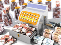 Financial success. Concept. Open the cash register filled with Russian banknotes and a lot of Russian banknotes on a white surface. The concept of financial Royalty Free Stock Photography