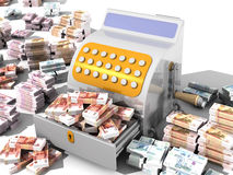 Financial success. Concept. Open the cash register filled with Russian banknotes and a lot of Russian banknotes on a white surface. The concept of financial Royalty Free Stock Image