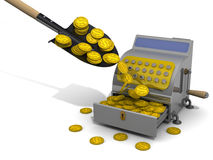 Financial success. Concept. The open cash register filled with USA coins, shovel and a lot of coins on a white surface. The concept of financial success. 3D Stock Images