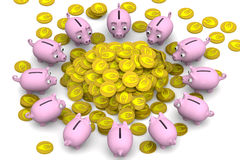 Financial success. Concept. Pink piggy banks surrounded the pile of gold coins with the symbol of the European currency. Financial concept. 3D Illustration Stock Images