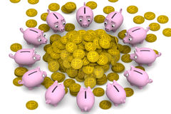 Financial success. Concept. Pink piggy banks surrounded the pile of gold coins with the symbol of the Russian ruble. Financial concept. 3D Illustration Stock Image