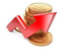 Financial success concept. Red arrow and coins. Growth chart isolated on white background Stock Images