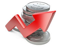 Financial success concept. Red arrow and coins Stock Photo