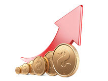 Financial success concept. Red arrow up and gold coins. Growth chart isolated on white background Stock Photography
