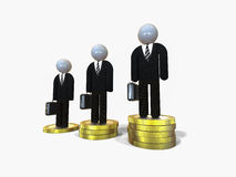 Financial success. 3D render image of businessmen on stacks of money Royalty Free Stock Image